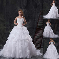 Wholesale Luxurious Traditional Wedding Dresses China Sweetheart White Organza And Satin Lace Up Appliques Ruched New Winter Bridal Gowns