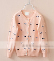kids jerseys - Children Color Cardigan Clothes Girl Cute Eye Pattern Outwear Girls Long Sleeve Knitted Sweaters Kids Graceful Embroider Jersey I1536