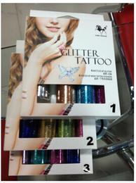 Wholesale Convenient Temporary Body Art Glitter Tattoo Kit bottles Glitter of Body Tattoo stickers Brush