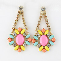 bijoux - Indian jewelry New coming fashion design flower colorful rhinestone drop earring frees hipping bijoux brand earrings