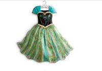 Wholesale green costume dress for kids frozen girls dress costume fantasy princess dress elsa anna costume dress kids vestidos infantis dress