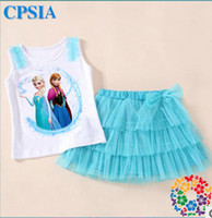 Girl Summer Short 2014 Hot Frozen dress sets Children Clothing Elsa Anna Princess sleeveless T-shirt tops + Bowknot Tulle tutu skirt 2pcs sets A4063