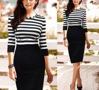 Wholesale Details about Celeb Striped Wear to Work Evening Cocktail Party Bodycon Slim Pencil Dress