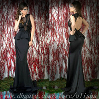 Reference Images High Neck Elastic Satin Sexy High Neck See Through Sheer Tulle Open Back Peplum Black Long Mermaid Prom Dresses 2014 Evening Dress