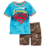 Boy camouflage pants - Kids Summer Clothes Boy Cartoon Superman Short Sleeve Tops Camouflage Pants Outfit Children Boys Casual Activewear Sets I1538