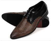 Men Oxfords Flat Heel British pointed fashion dress shoes Hand-woven cowhide Fashion quality goods business men leather shoes