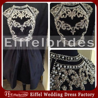 Real Photos attractive dress - Custom made Sparkly Cocktail Dress High Neck with Attractive Shining Beading and Pearls Elegant A line Short Taffeta Black Prom Dresses