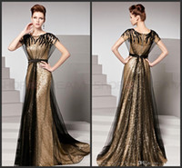 Wholesale 2014 Sexy Jewel Floor length Sequins Evening Dresses Beaded Short sleeves Evening Gowns AA44