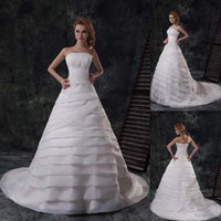 Wholesale 2014 Bling Luxury Garden Wedding Dresses Ivory Organza Strapless A line Pleats Appliques Beaded Chapel Train Lace Up Formal Bridal Gowns