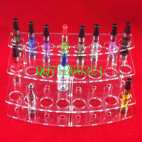 Wholesale Acrylic e cig display showcase clear exhibit shelves standing show stand e cigarette holder rack for clearomizer ego battery ecig DHL