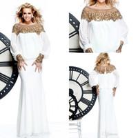 Reference Images Jewel/Bateau Chiffon New Long Sleeve Chiffon White Crystal Formal Evening Dresses Beaded Arabic Dubai ABAYA KAFTAN Prom Celebrity Gowns Tarik Ediz 2014 AA47