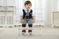 Boy Summer Short Baby Boy Clothing Set Summer Suits Three-Piece Suit Designer Shirt With Tie And Pants 100% Cotton