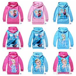 Wholesale 10 colors new Frozen Baby Girls Yrs Elsa Anna Princess Hoodie Long Sleeve Terry Hooded Jumper Cartoon Hoodies Outerwear Kids Clothing