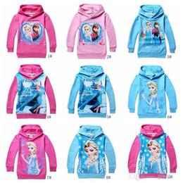 Wholesale 10 colors new Frozen Baby Girls Yrs Elsa Anna Princess Hoodie Long Sleeve Terry Hooded Jumper Cartoon Hoodies Outerwear Kids Clothing