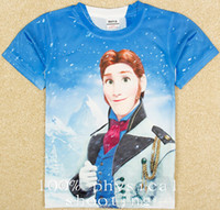 Wholesale 9 off IN STOCK Fashion High quality new cartoon boy prince Hans D printing T shirts DROP SHIPPING hot sale TS