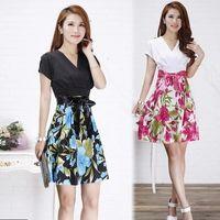 Wholesale 2014 new short sleeved summer dress fashion Korean version was thin Slim V neck high waist broken printing dress
