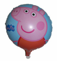 Wholesale 50PCS inch pink Peppa Pig Family Picnic Foil Balloon cm for air or helium inflation round Aluminum foil ballon helium balloon
