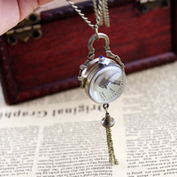 Wholesale 2014 Cute Charming Fashion Jewelry Roman Numeral Imitation Crystal Ball Shape With Long Tassel Pocket Watch