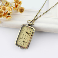 Wholesale 2014 Hot Sale Vine Individual Separate the Dial Rectangle Alloy Pocket Watch for Men and Women