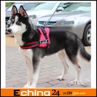 Wholesale Red Black Dog Harness Walking Service Vest Handle Padded Sports Dog Harness Set