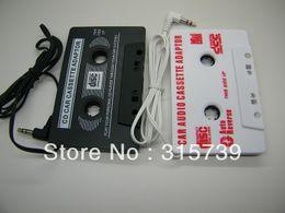 Adaptador de cassette audio universal del coche de 3.5mm Audio Adaptador estéreo de la cinta de cassette para el teléfono del jugador MP3 NEGRO 200 X DHL