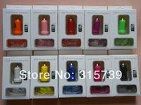 Precio de Cargos cables iphone-2 en 1 cable colorido del USB del coche del cargador + micro V8 / 30pin del mini USB 1A para la galaxia s3 i9300 del samsung del iphone 4 con el empaquetado al por menor