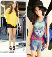 Wholesale Women s Ladies Tank Tops Kitten Queen amp Chiffon Blouse with Batwing Short Sleeve Casual Tops Flowing ruffled Asymmetric Layers Blouse