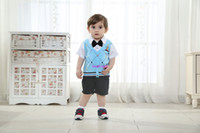 Wholesale Baby Boy Suit With Black Bow tie Short Sleeve T Shirt And Blue Jacket Black Shorts Designer Clothes Cotton Kids Summer Clothing
