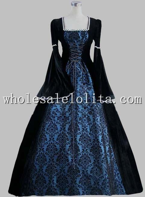 19th Century Gothic Black And Blue Print Elegant Victorian Ball ...