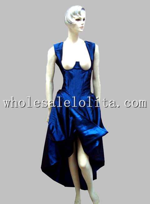 Gothic Blue Thai Silk Historical Euro Court Princess Long Dress ...