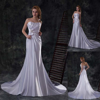Cheap Elegant Cheap Simple Wedding Dresses Ivory Stretch Satin Sheath Strapless Sweep Train Lace Up China Bridal Gowns 2014 Wholesale