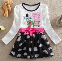 TuTu Spring / Autumn A-Line New Arrival Cartoon Baby Girl Peppa Pig Princess Dress %95 Cotton Embroidery Long Sleeve Children Peppapig Dresses Fit 2-6Age Kids GX467
