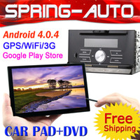 Wholesale car dvd FREESHIPPING Android din CAR Audio PC Tablet autoRadio Wifi G GPS G CPU M DVD GPS A TV PAD support Bluetooth