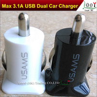 Car Chargers For Apple iPhone OEM USAMS 3.1A 3100mha USB Dual Car Charger 5V Dual 2 Port car Chargers for iPad iPhone 5 5S iPod iTouch HTC Samsung