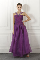 Wholesale In stock A Line Taffeta Floor Length Graduation dresses With Sexy Halter Beads Backless Party Prom Dress SD059