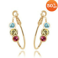 Hoop & Huggie as the pictures show Mexican 8 colors wholesale 18K white gold plated crystal fashion hoop earrings jewelry for women 3B041