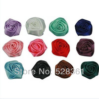 applique projects - 100pcs mm Satin Ribbon Flower Rose Bud Wedding Appliques for DIY Projects Accessory Sewing Garments Assorted Colors