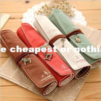 Fabric Pencil Bag Yes Free shipping New Fashion Korea stationery office product Canvas roll Pen Pencil case Bag roll Cosmetic case storage Bag RJ1472