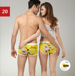 Wholesale set Cotton Cartoon Seamless Lovers Underwear Set Ladies underwear Men s Boxer Shorts