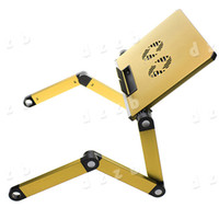 Metal School Furniture Computer Desk Free Shipping Portable Gold 360 Degree Foldable Folding Adjustable Laptop Notebook Table Stand Desk with Cooling Fan Pad