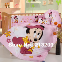 100% Cotton Hotal Adults New 2014 Cartoon brand items Mickey minnie mouse cotton embroidery baby crib bedclothes 7parts bedding set free shipping by EMS