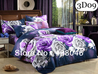 Polyester / Cotton Hotal Adults free shipping,purple peony flowers printed 4pcs bedding set.Microfiber bedclothes.wedding bed linen 3d duvet cover set #09