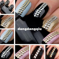 Wholesale bag mm New Designer D Design Nail Art Decoration Stickers Tip Studs spike Gold Silver Accessories