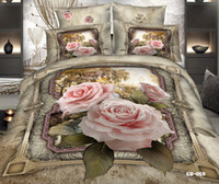 Wholesale Luxury D Rose Bedding Sets Cotton Fabric Comforter Set Home Textiles Duvet Cases Pillow Covers Flat Bed Sheet Cheap In Stock