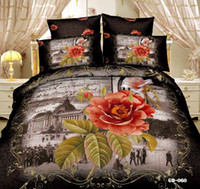Wholesale 3D Bedding Sets Honorable Comforter Set Cotton Fabric Duvet Cases Pillow Covers Flat Bed Sheet Home Textiles Wedding Supplies Cheap