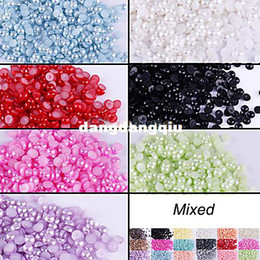 Wholesale Half Round Flatback Acrylic Pearl for DIY Nail Art Phone Craft Colors