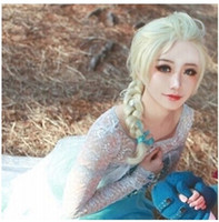 Wholesale 1pcs Frozen most popular cartoon girl Hair Wigs children Cosplay Wigs Elsa Anna princess white fluffy long hair single plait ponytail