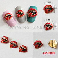 Wholesale Fashion Lipstick Shape D Alloy Metal Charm Luxury Nail Art Decoration Mixed Size decor Acrylic Nail Tips MY