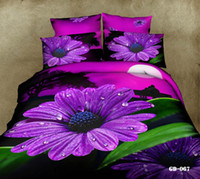 Wholesale Purple Floral D Comforter Sets Bedding Set Cotton Fabric Duvet Cases Pillow Covers Flat Bed Sheet Home Textiles Bed In A Bag King Size