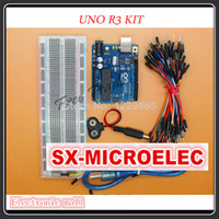Wholesale Uno R3 Kit for arduino MB points Breadboard Flexible jumper wires USB Cable and V Battery Connector